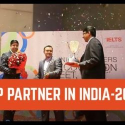 MD Touchstone, accepting 'TOP PARTNER IN INDIA' for 2015 from IDP